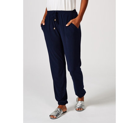 Drawstring Waist Trousers with Elasticated Cuffs by Nina Leonard