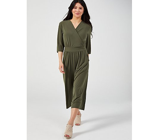 Kim & Co Brazil Jersey 3/4 Sleeve Gaucho Jumpsuit with Pockets