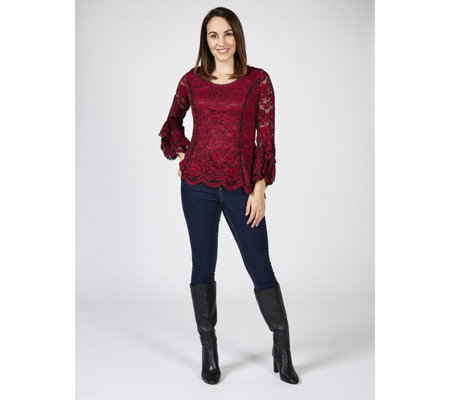 Isaac Mizrahi Live Stretch Lace Top with 3/4 Sleeve