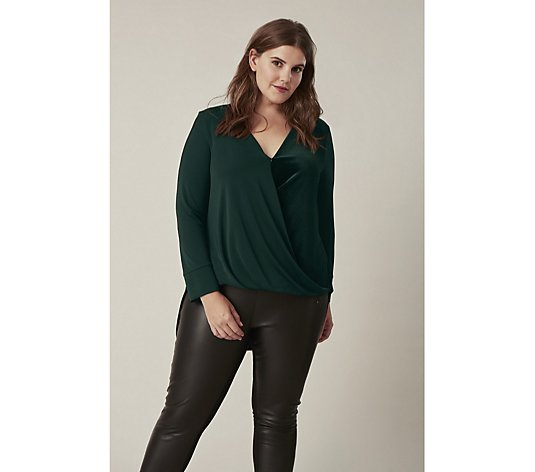 Live Unlimited London Velvet Crossover Draped Top