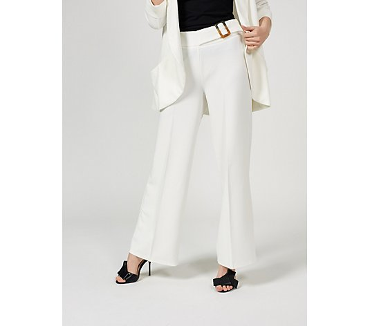 High Tech Crepe Wide Leg Trouser with Buckle by Nina Leonard