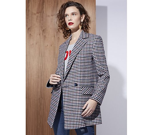 Helene Berman Double Breasted Blazer In Check