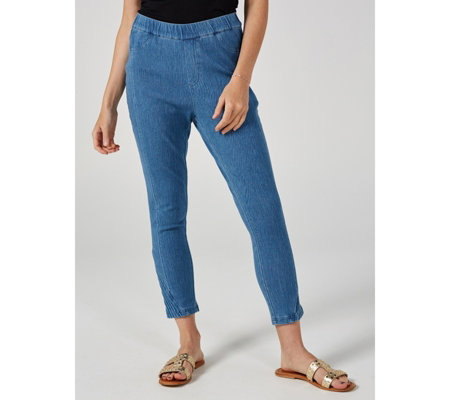 H by Halston Knit Denim Slim Leg Pull On Crop Trousers
