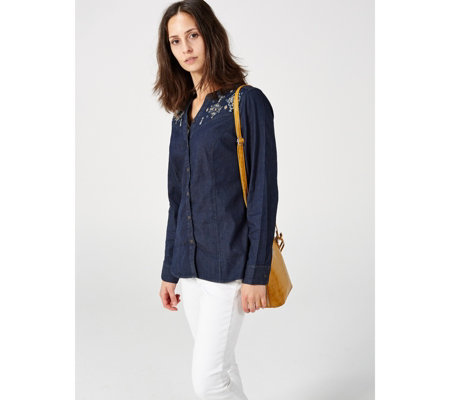 Denim & Co. Studio Embroidered Denim Shirt