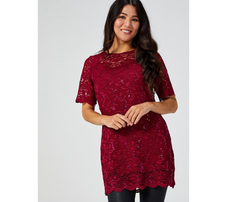 Kim & Co Magical Lace Elbow Sleeve Lined Tunic Dress with Scallop Hem