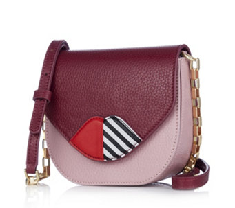 Lulu Guinness Small Amy Grainy Leather 50:50 Lip Crossbody Bag - 160727