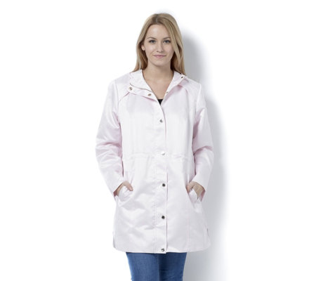 Dennis Basso Water Resistant Satin Hooded Anorak