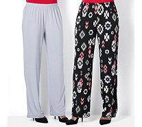 Antthony Designs Pack of 2 Print & Plain Pull-on Trousers Petite - 165427
