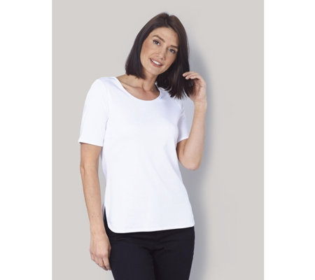 Ruth Langsford Satin Trim Jersey Top with Back Zip detail