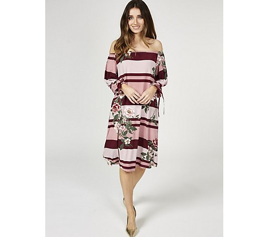 Outlet Balloon Sleeve Printed Dress by Nina Leonard