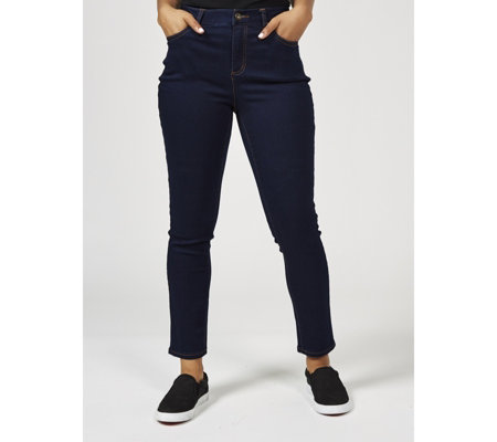 Denim & Co. Soft Stretch Fly Front Slim Leg Jeans Regular