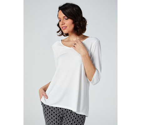 Kim & Co Brazil Jersey 3/4 Sleeve V Neck Relaxed Top