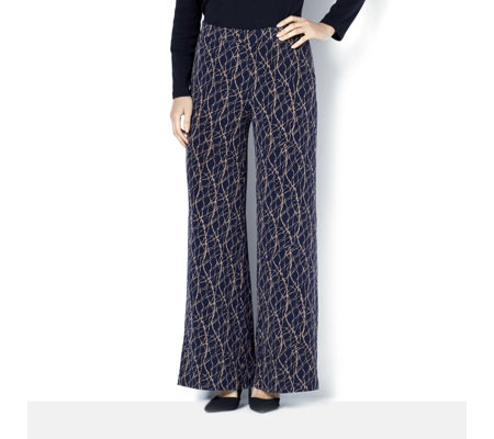 Printed Regular Palazzo Trousers with Elasticated Back Waist by Nina Leonard