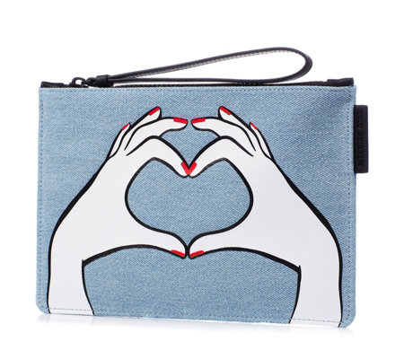 Lulu Guinness Grace Heart Hands Denim Zip Top Pouch
