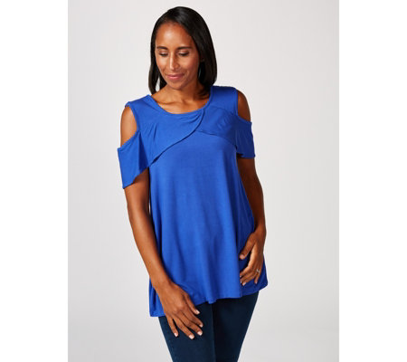 Cold Shoulder Top with Crossover Ruffle Detail by Nina Leonard