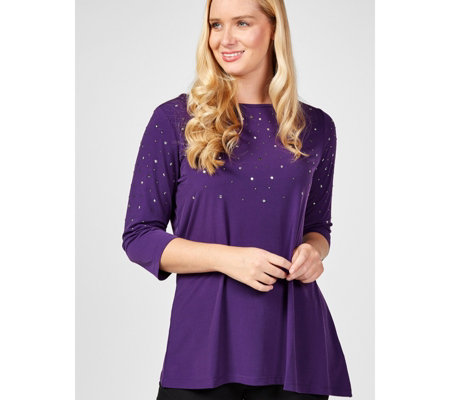 Quacker Factory Asymmetrical Hem Knit Top with Rhinestones