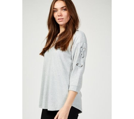 Absolutely Famous Crew Neck Lattice Sleeve Dolman Top