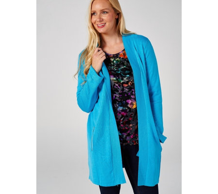 Outlet Long Length Knitted Cardigan with Zip Pockets by Michele Hope