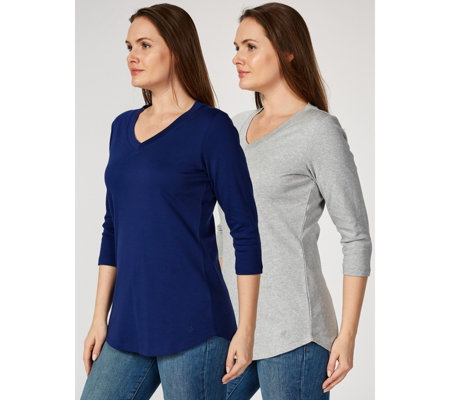 Outlet Isaac Mizrahi Live 2 Pack V Neck 3/4 Sleeve Tunic