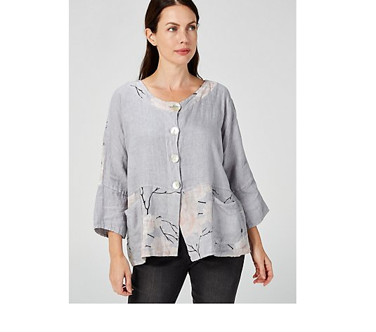 Luca Vanucci Linen Button Front Top with Border & Neckline Print
