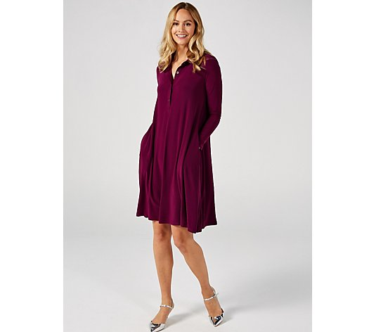 Long Sleeve Trapeze Shirtdress with Half Placket by Nina Leonard