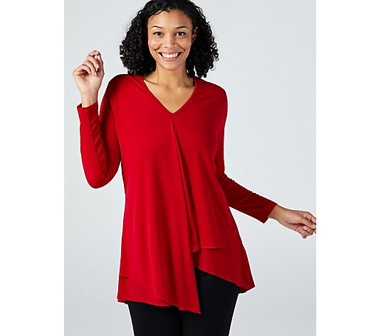 V Neck Tunic with Asymmetric Hem by Michele Hope