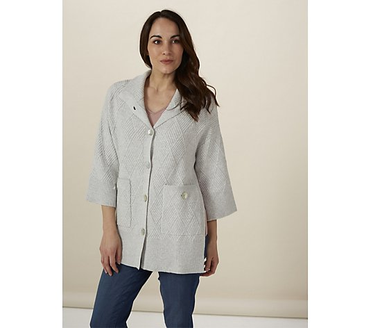 WynneLayers Soft Diamond Pattern Boxy Sweater Cardigan