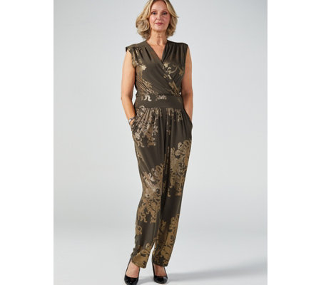 Kim & Co Oriental Foil Brazil Jersey Cross Over Pocket Jumpsuit