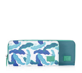 Travel Style Set of 2 RFID Purses Print & Plain - 162629