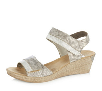 Rieker Metallic Wedge Sandal with Adjustable Straps - 164329