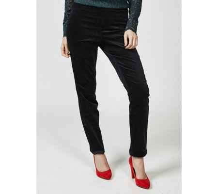 Isaac Mizrahi Live Slim Leg Velvet Trousers with Faux Pockets
