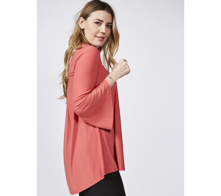 Antthony Designs Bell Sleeve Top with Pleat Back Detail & Hi Lo Hem