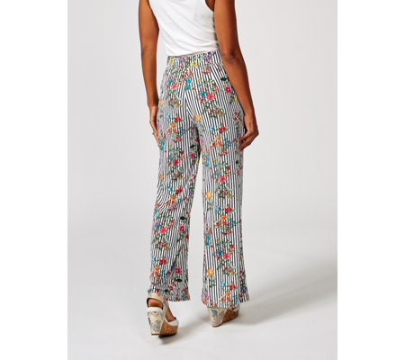 Printed Palazzo Trouser with Pleated Front by Nina Leonard