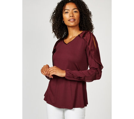 H by Halston Knit Crepe Cold Shoulder V Neck Top with Sleeve Detail