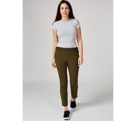 High Tech Crepe Petite Trousers with Side Pocket  by Nina Leonard