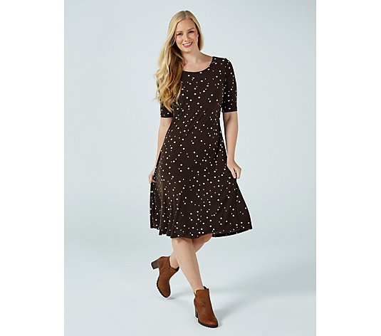 Kim & Co Printed Brushed Venechia Elbow Sleeve Flared Dress