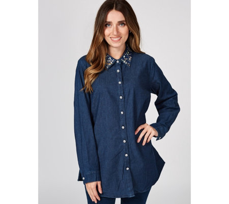 Quacker Factory Button Front Denim Shirt With Rhinestone Collar Qvc Uk