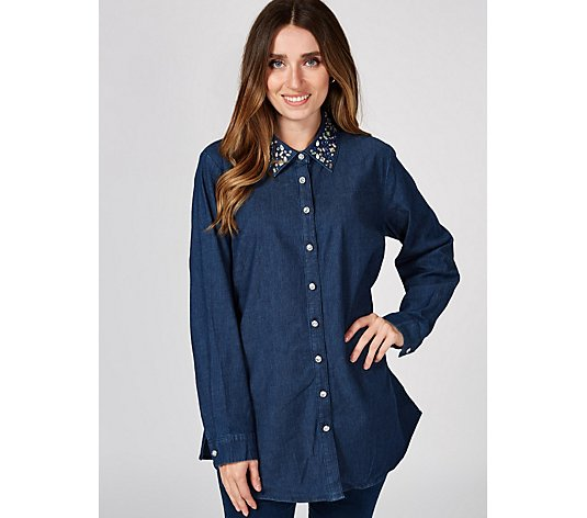 Quacker Factory Button Front Denim Shirt with Rhinestone Collar