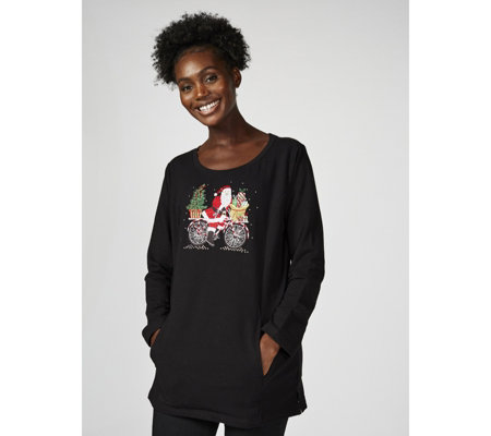 Quacker Factory Christmas Motif Tunic Top with Pockets
