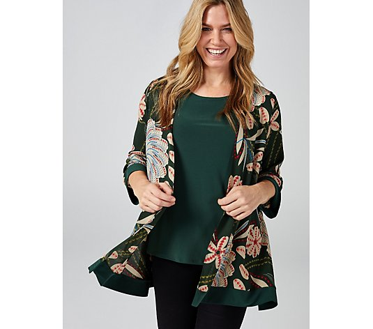 Antthony Designs Printed 3/4 Sleeve Cardigan & Plain Top Set