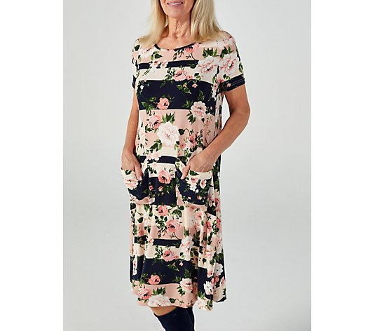 Printed Short Sleeve Dress with Patch Pockets by Nina Leonard