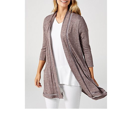 Outlet H by Halston 3/4 Sleeve Cardigan with Split Back Detail