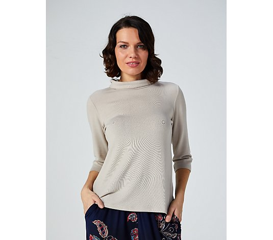 Outlet Kim & Co Soft Touch Turtle Neck 3/4 Sleeve Top