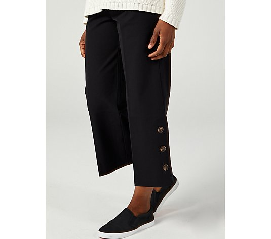 Isaac Mizrahi Live 24/7 Stretch Culotte Button Detail Trousers