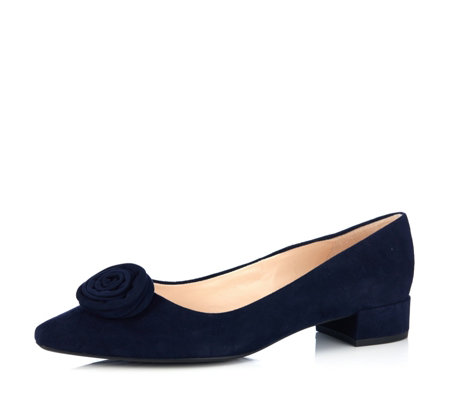 Peter Kaiser Saide Flat Suede Court Shoe with Flower Trim