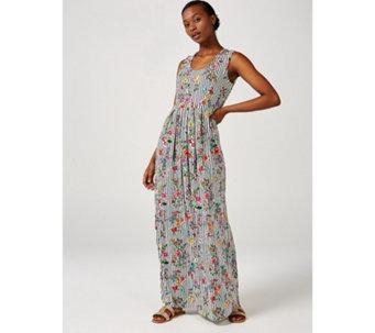 2e2abaa5fd7 Sleeveless Printed Maxi Dress with Pleated Skirt by Nina Leonard - 173230
