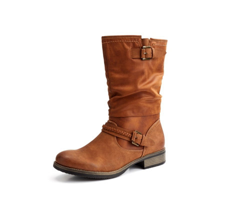 Rieker Ruched with Buckle Detail Mid Calf Boot