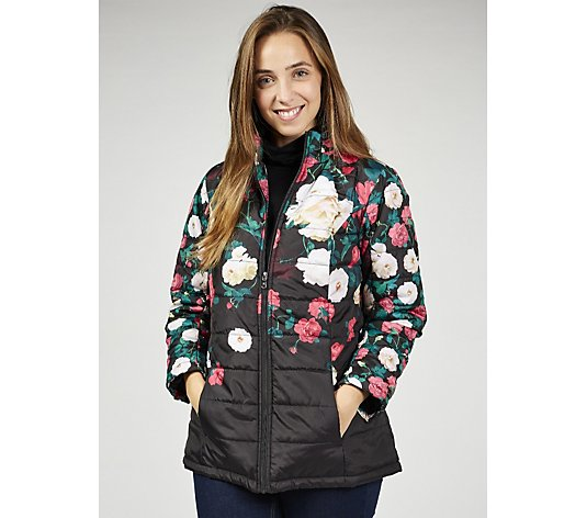 Outlet  Isaac Mizrahi Live Printed Floral Padded Coat with Hidden Hood