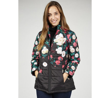 Isaac Mizrahi Live Printed Floral Padded Coat with Hidden Hood