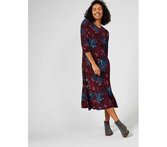 Denim & Co. Printed Brushed Heavenly Jersey Midi Dress